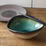 緑彩土の華 20.8cm楕円中鉢[美濃焼]