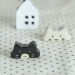 【メール便対応】のんびり猫 箸置き 黒猫[美濃焼]