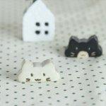 【メール便対応】のんびり猫 箸置き 白猫[美濃焼]