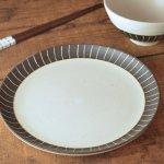 チョコ削り 18.5cm中皿 ライン/ホワイト[美濃焼]