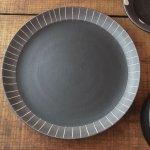 チョコ削り 18.5cm中皿 ライン/ブラック[美濃焼]