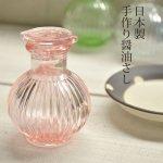 菊型 昔なつかし手作り醤油さし ピンク