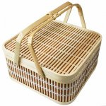 【台湾雑貨】伝統的なかわいい竹製バスケット籠ハンドル付きピクニック小物入れ台湾製