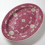 即納【おしゃれ中華食器】デッドストック1980年代 景徳鎮 楕円オーバル大皿 盛り付け 花柄 赤色
