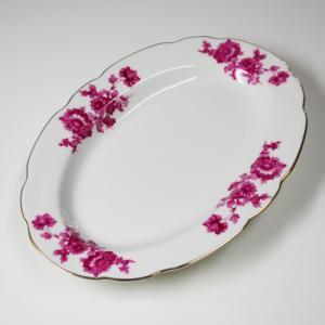 即納【おしゃれ中華食器】1990年代 レア商品 金縁 花柄 菊 ピンク オーバル 楕円皿
