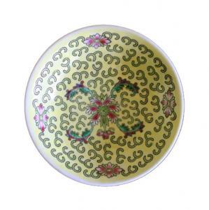 即納【おしゃれ中華食器】1980年代景徳鎮デッドストック小皿取り皿寿柄黄色10cm