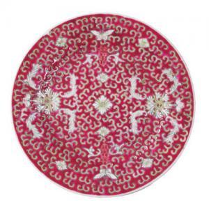 即納【おしゃれ中華食器】1980年代デッドストック景徳鎮中皿取り皿寿花柄赤色18cm