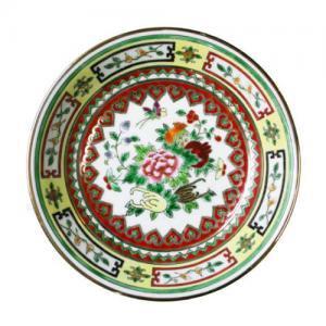 即納【おしゃれ中華食器】1980年代景徳鎮デッドストックかわいい花柄カラフル金縁絵皿14cm