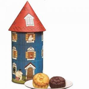 即納【香港限定スイーツ】2017年 中秋 奇華餅家 かわいい ムーミン ハウス 月餅缶 4個入り