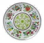 即納【おしゃれ中華食器】1990年代 香港 デッドストック 大平皿 絵皿 花柄 24cm