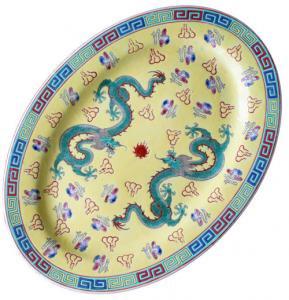 【おしゃれ中華食器】デッドストック1970年代景徳鎮楕円オーバル盛り付け大皿ドラゴン龍薄黄色イエロー36cm