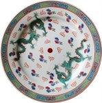 即納【おしゃれ中華食器】1970年代デッドストック景徳鎮平大皿龍ドラゴン白色23cm