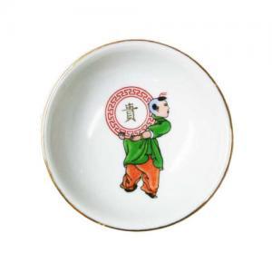 即納【おしゃれ中華食器】1980年代景徳鎮デッドストック豆皿醤油皿人物絵柄7cmC