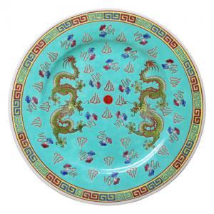 即納【おしゃれ中華食器】1980年代デッドストック景徳鎮平大皿小龍ドラゴンブルーグリーン色26cm
