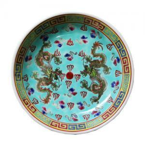 即納【おしゃれ中華食器】1980年代デッドストック景徳鎮取り皿小龍ドラゴンブルーグリーン色14cm