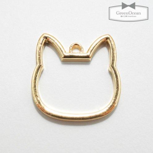 【空枠】ねこの顔 大  《きれいめゴールド》 [cat,ネコ,猫,にゃんこ,ニャンコ,動物,animal,フレーム]