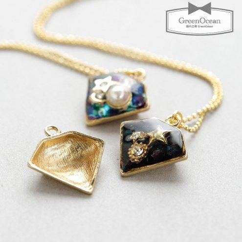 【セッティング台】ダイヤ  《きれいめゴールド》 [ダイヤ,スクエア,四角形,土台,ミール皿,菱]