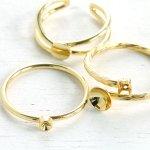 ◎【アクセサリー金具】3種 リングセット  《きれいめゴールド》 [繋げる,指輪,皿,ゆびわ,金具,フリー]