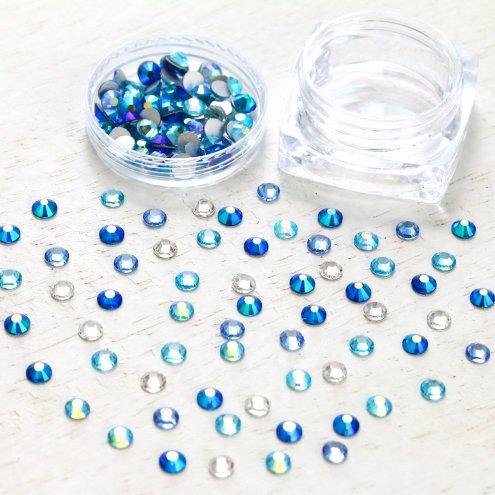 【ビジュー・ラインストーン】約4mm A級ガラス ラインストーン 《ブルーMIX》 [デコ,石,ダイヤ,キラキラ,貼,レジン封入]