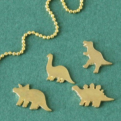 【チャーム】4種 恐竜  《きれいめゴールド》 [きょうりゅう,キョウリュウ,怪獣,動物,animal,ミニ,デコ]