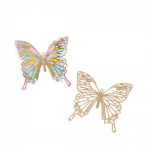 【メタルチャーム】 バタフライ B  《きれいめゴールド》 [ちょうちょ,チョウチョ,蝶々,昆虫,虫,ミニ,薄い,透かし]