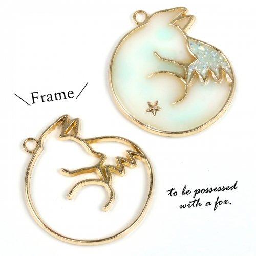 【空枠】おやすみキツネ  《きれいめゴールド》 [きつね,狐,日本,祭,動物,animal,和風,フレーム]