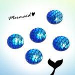 【プラパーツ】5個 マーメイド ラウンド  《オーロラ・ブルー》 [貼り付けパーツ,アクリル,プラスチック,カボション,sea,海]