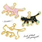 【空枠】てくてくネコ天使  《ゴールド》 [羽根,猫,ねこ,cat,動物,animal,フレーム,レジン枠]