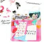 【ネイルシール】フラミンゴ《ピンク×白黒》[ヤシの木,ネイル,透明,デコ,レジン]