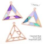 【空枠】ステンドグラス風フレーム トライアングル 《ピンクゴールド》 [モザイク,幾何学,三角]