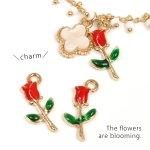 【チャーム】2個 赤いチューリップ《きれいめゴールド×レッド》[エポ付,お花,植物,自然,ナチュラル,フラワー,FLOWER,pair]