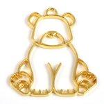 【空枠】おすわりクマ《ゴールド》[フレーム,レジン枠,くま,熊,動物,animal]