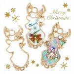 【空枠】トナカイ《きれいめゴールド》[クリスマス,Christmas,Xmas,となかい,鹿,シカ,animal,動物,レジン枠,フレーム,冬]