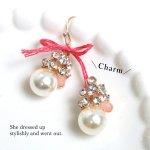 【チャーム】ビジューもりもりパール《ホワイト×クリア×ピンク》[ビジュー,真珠,パール,チャーム]