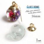 【ガラスドーム】 ガラスドーム&キャップ 16mm[ガラスボール,瓶,ビン,ボトル,グラス,ラウンド,丸,ハーバリューム,ハーバリウム]