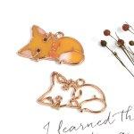 【空枠】キュートな子ぎつね 《きれいめゴールド》[きつね,狐,キツネ,猫,ねこ,ネコ,動物,レジン枠,フレーム]