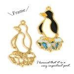 【空枠】氷ペンギン 《ゴールド》[フレーム,レジン枠,北極,動物,animal]