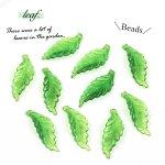 【プラパーツ】10個 リーフ《グリーン》[アクリル,プラスチック,ビーズ,葉,植物,樹,木,葉っぱ,はっぱ]