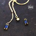 【高品質ヴィンテージ風パーツ】シンプルスクエアビジュー《真鍮色×ブルー》[四角,宝石,jewel,コネクター,高級感]