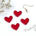 ♪【プラパーツ】4個 ハート《レッド》[らぶ,愛,ビーズ,フラット,アクリル,プレート,赤]