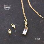 【高品質ヴィンテージ風パーツ】2個 ラウンドミニコネクター《真鍮色×クリア》[丸,宝石,jewel,ストーン,コネクター,pair]