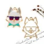 ♪【空枠】サングラスにゃんこ《きれいめゴールド》[猫,ねこ,顔,動物,眼鏡,めがね,フレーム,レジン枠]