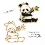 【空枠】笹ハグぱんだ《きれいめゴールド》[パンダ,動物,レジン枠,フレーム,アニマル,くま]