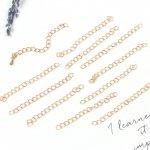 ◎【アクセサリーパーツ】10個 アジャスターチェーン 約45mm《きれいめゴールド》[サイズ,調整,ブレスレット,ネックレス,基本金具,基礎パーツ,基礎金具,手芸]