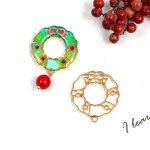 【空枠】リボンリースA《きれいめゴールド》[Christmas,Xmas,クリスマス,かわいい,チャーム,レジン枠,フレーム]