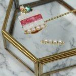 【高品質プチジュエリーパーツ】スティックラインパール《ゴールド×ホワイト》[真珠,宝石,ジュエル,キラキラ,オトナ,ネイル]