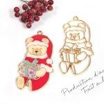 【空枠】くまサンタ《きれいめゴールド》[熊,クマ,ベア,動物,サンタクロース,クリスマス,冬,プレゼント,レジン枠,フレーム,Christmas,Xmas]