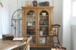◎△お急ぎ便不可△ オリジナルガラスのオールドパインカップボード(食器棚) 1880年代 イギリスアンティーク家具