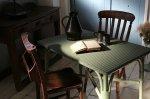 ◎△お急ぎ便不可△ ロイドルームテーブル グリーン タグ付 イギリスアンティーク家具