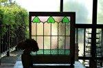 ◎△お急ぎ便不可△ ステンドグラス 緑のハート パステルカラー イギリスアンティーク ガラス幅46cm 3/4